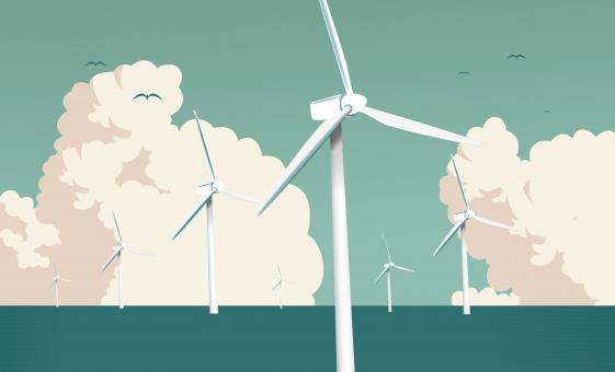 Free Stock Photo of Wind Farm at Sea - Larger Clouds - Green Energy