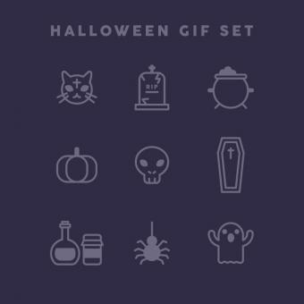 Free Stock Photo of Purple Halloween Gif Set