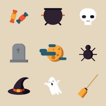 Free Stock Photo of Flat Design Halloween Icons