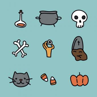 Free Stock Photo of Outlined Halloween Icons