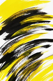 Free Stock Photo of Abstract Art - Black and Yellow Brush Strokes