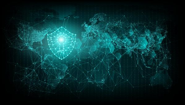 Free Stock Photo of Cyber Security - Web Security Shield Over World Map