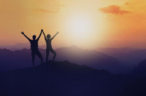 Free Stock Photo of Woman and Man on Mountain Top - Success - Union - Achievement
