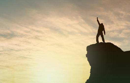 Free Stock Photo of  Achievement - Success - Man on Top of Mountain