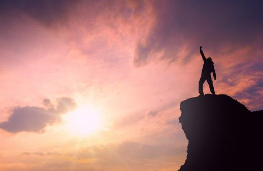Free Stock Photo of Success - Man on Top of Mountain