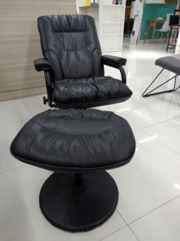 Free Stock Photo of Comfy black leather swivel chair