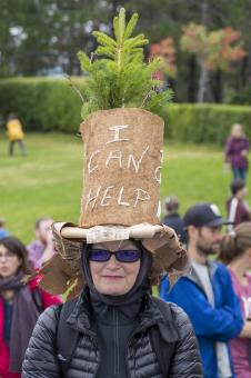 Free Stock Photo of Lady in a hat at a climate protest