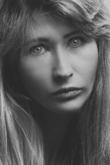 Free Stock Photo of The Stare - Black and White Model Portrait