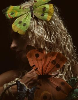 Free Stock Photo of Model with Butterflies in Hair