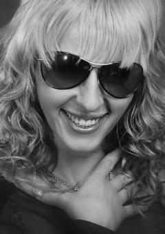 Free Stock Photo of Blond Model with Sunglasses - Black and White Portrait