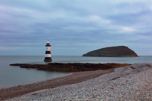 Free Stock Photo of Cloudy Lighthouse Dawn - Trwyn Du