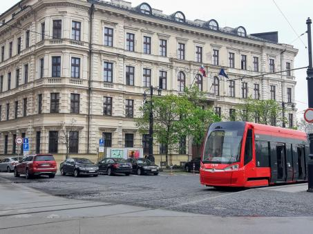 Free Stock Photo of Red tramway in Bratislava, Slovakia