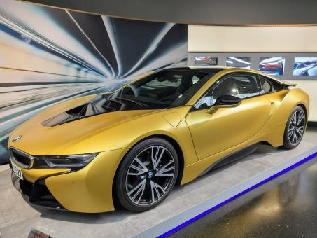 Free Stock Photo of Golden BMW I8 Luxury Car