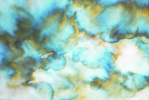 Free Stock Photo of Blue and Yellow Watercolor Paint