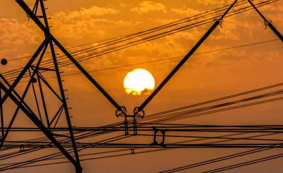 Free Stock Photo of Sunset behind Electric Wires