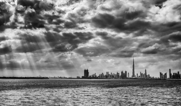 Free Stock Photo of Dubai Skyline on a Cloudy Day