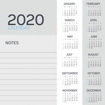 Free Stock Photo of Minimal 2020 Calendar
