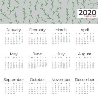 Free Stock Photo of Simple and Clean 2020 Calendar