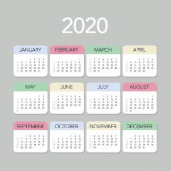 Free Stock Photo of Plain Colorful 2020 Calendar