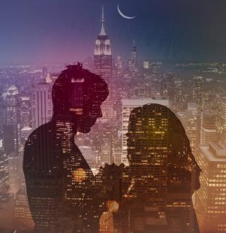 Free Stock Photo of Romantic Couple over City at Night - Double Exposure Effect