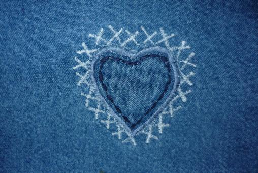 Free Stock Photo of Jeans Heart Texture