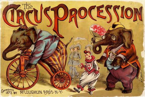 Free Stock Photo of Circus Elephant Vintage Poster