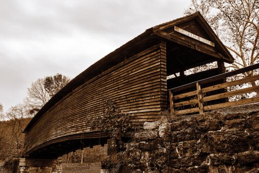 Free Stock Photo of Humpback Covered Bridge - Sepia Nostalgia