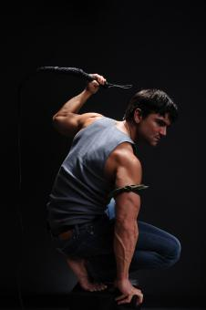 Free Stock Photo of Fit man holding a whip