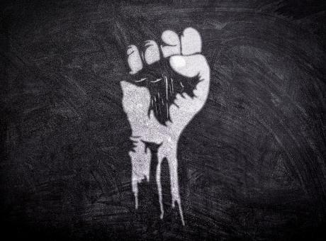 Free Stock Photo of Power to the People - Raised Fist on Blackboard