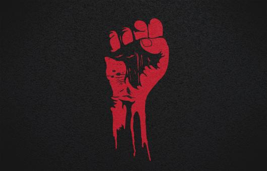 Free Stock Photo of Power to the People - Raised Fist - Red on Textured Black