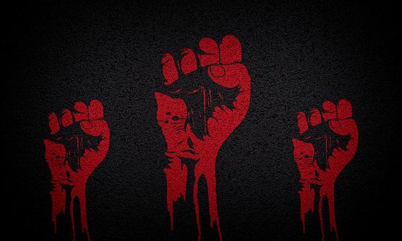 Free Stock Photo of Power to the People - Raised Fists - Red on Textured Black