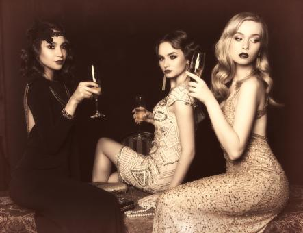 Free Stock Photo of Three Ladies Drinking - Vintage Looks