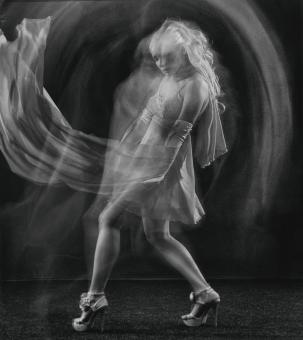 Free Stock Photo of Dancing Girl - Multiple Exposure - Black and White