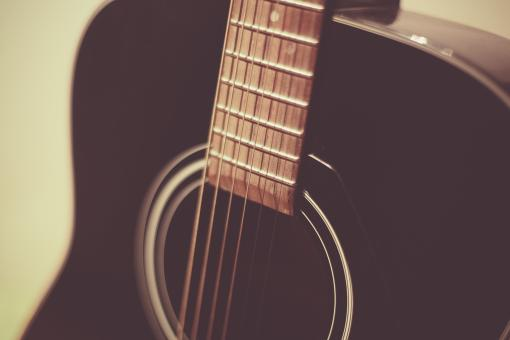 Free Stock Photo of Acoustic Guitar Close Up