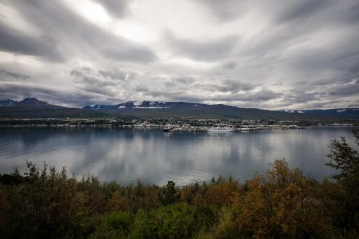 Free Stock Photo of Akureyri From Across the Fjord