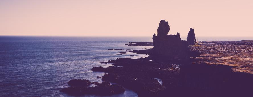 Free Stock Photo of Hellnar Coastline Panorama at Dusk