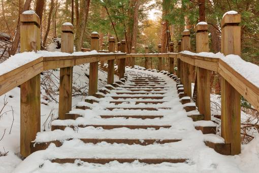 Free Stock Photo of Winter Column Stairway