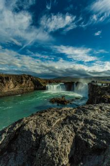 Free Stock Photo of Beautiful Godafoss Waterfall in Iceland
