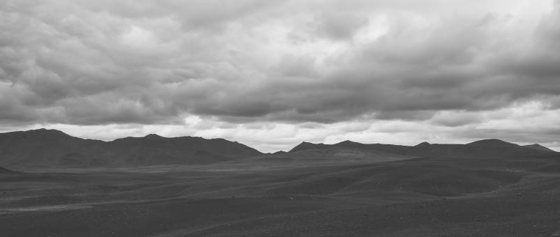 Free Stock Photo of Modrudalsheidi Panorama - Black and White
