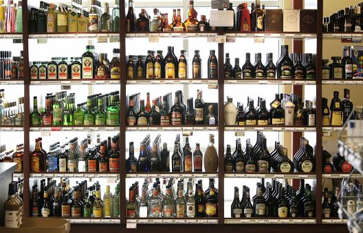 Free Stock Photo of Alcohol in the Shelfs