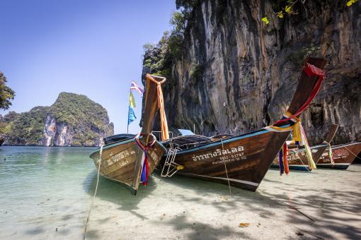Free Stock Photo of Thailand Boats on Beach
