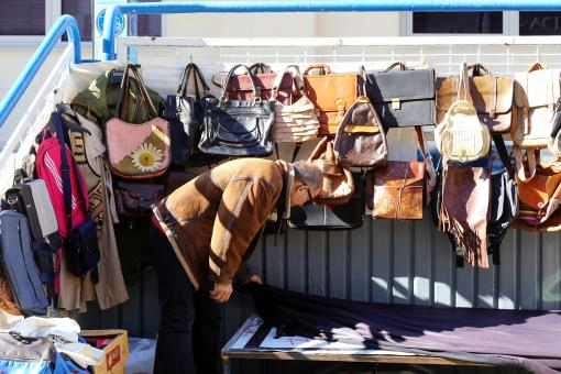 Free Stock Photo of Market Booth with Leather Bags