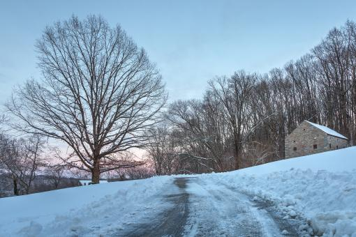 Free Stock Photo of Winter Twilight Driveway