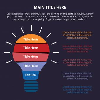 Free Stock Photo of Dark flat infographic with bulb