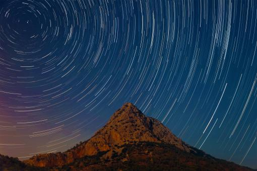 Free Stock Photo of Star Trails over Mountain