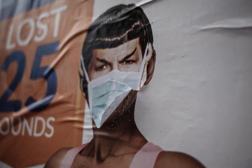 Free Stock Photo of Mr Spock Poster with Face Mask