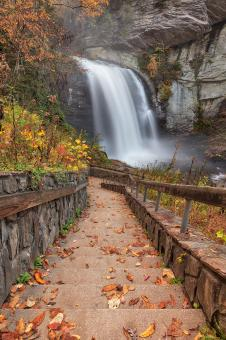 Free Stock Photo of Autumn Steps of Looking Glass Falls