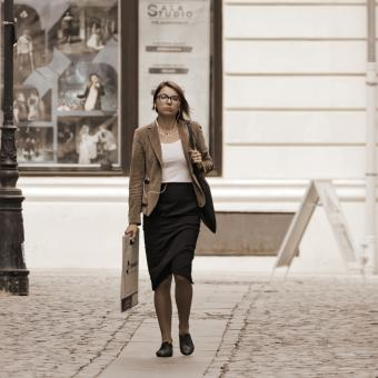 Free Stock Photo of Woman walking on the street