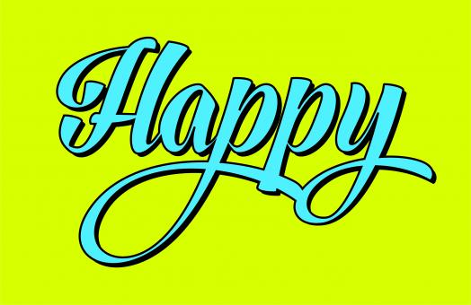 Free Stock Photo of Happy in Calligraphy Lettering