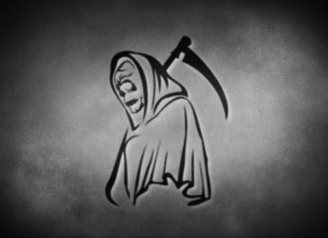 Free Stock Photo of Grim Reaper - On Grey Texture